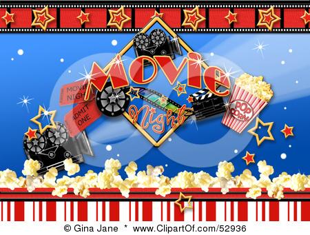 Movie Night Backdrop Printable backyard home theater cinema  |Movie Night Page Background